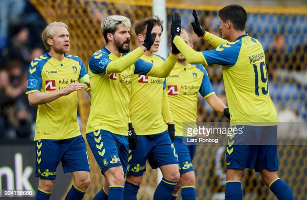 Anthony Jung and Christian Norgaard of Brondby IF celebrate after scoring their second goal during the Danish Alka Superliga match between Brondby IF...