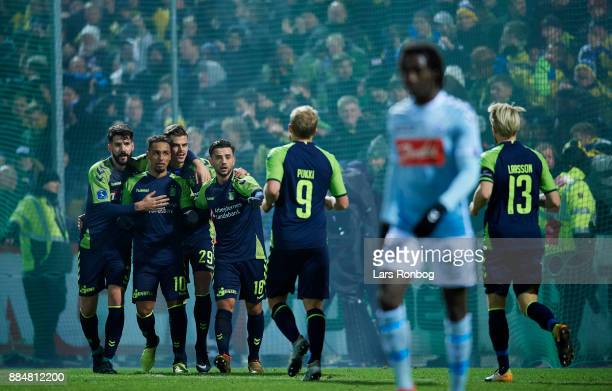 Anthony Jung Jan Kliment Hany Mukhtar and Besar Halimi of Brondby IF celebrate after scoring their second goal during the Danish Alka Superliga match...