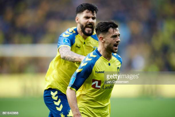 Anthony Jung of Brondby IF and Besar Halimi of Brondby IF celebrate the 11 goal from Besar Halimi during the Danish Alka Superliga match between...