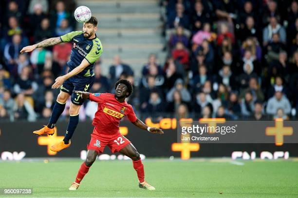 Anthony Jung of Brondby IF and Ernest Asante of FC Nordsjalland heading the ball during the Danish Alka Superliga match between FC Nordsjalland and...