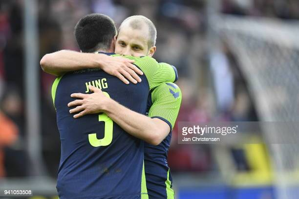 Anthony Jung of Brondby IF and Teemu Pukki of Brondby IF celebrate the 03 goal from Teemu Pukki during the Danish Alka Superliga match between AaB...
