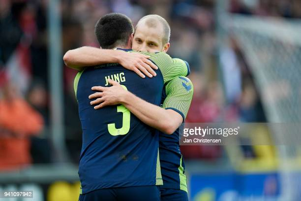 Anthony Jung of Brondby IF and Teemu Pukki of Brondby IF celebrate after the 03 goal from Teemu Pukki during the Danish Alka Superliga match between...