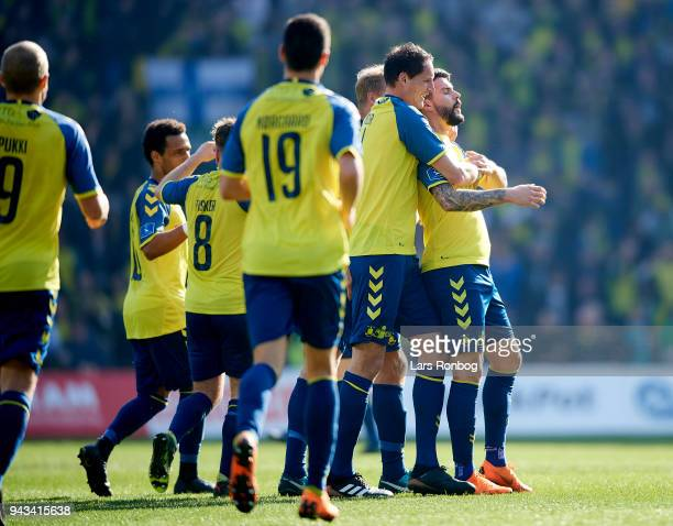 Anthony Jung of Brondby IF celebrates after scoring their first goal during the Danish Alka Superliga match between Brondby IF and AC Horsens at...
