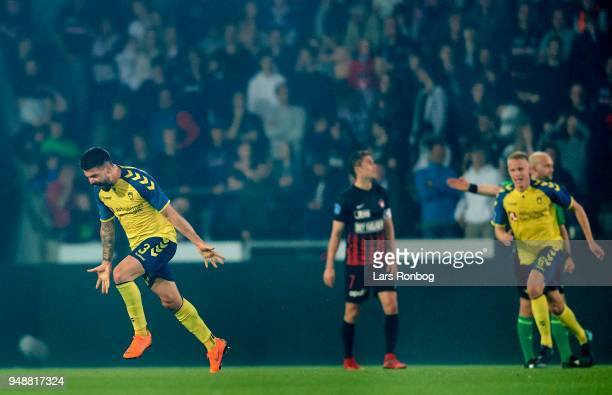 Anthony Jung of Brondby IF celebrates after scoring their third goal during the Danish Alka Superliga match between FC Midtjylland and Brondby IF at...