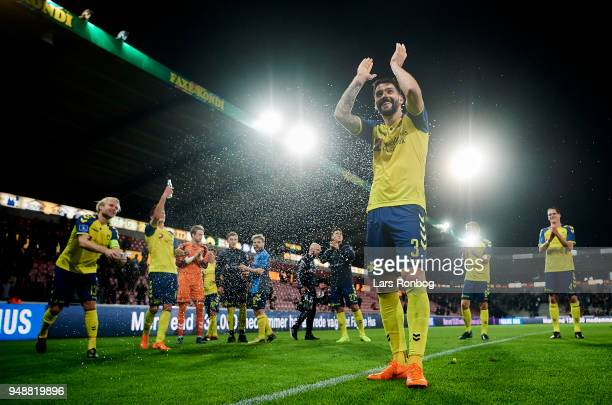 Anthony Jung of Brondby IF celebrates after the Danish Alka Superliga match between FC Midtjylland and Brondby IF at MCH Arena on April 19 2018 in...