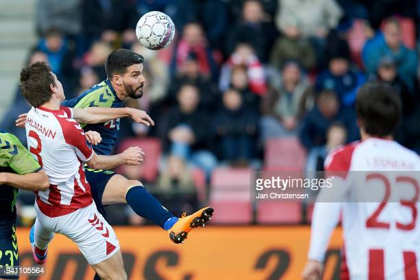 Anthony Jung of Brondby IF compete for the ball during the Danish Alka Superliga match between AaB Aalborg and Brondby IF at Aalborg Portland Park on...