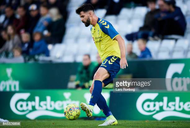 Anthony Jung of Brondby IF controls the ball during the Danish Alka Superliga match between OB Odense and Brondby IF at EWII Park on September 10...