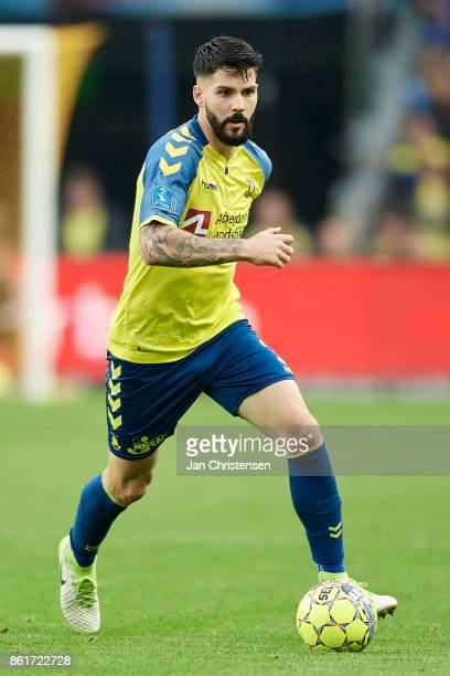 Anthony Jung of Brondby IF controls the ball during the Danish Alka Superliga match between Brondby IF and Silkeborg IF at Brondby Stadion on October...
