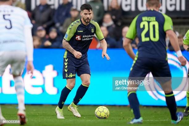 Anthony Jung of Brondby IF controls the ball during the Danish Alka Superliga match between FC Helsingor and Brondby IF at Helsingor Stadion on...