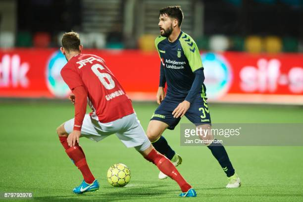 Anthony Jung of Brondby IF controls the ball during the Danish Alka Superliga match between Silkeborg IF and Brondby IF at JYSK Park on November 26...