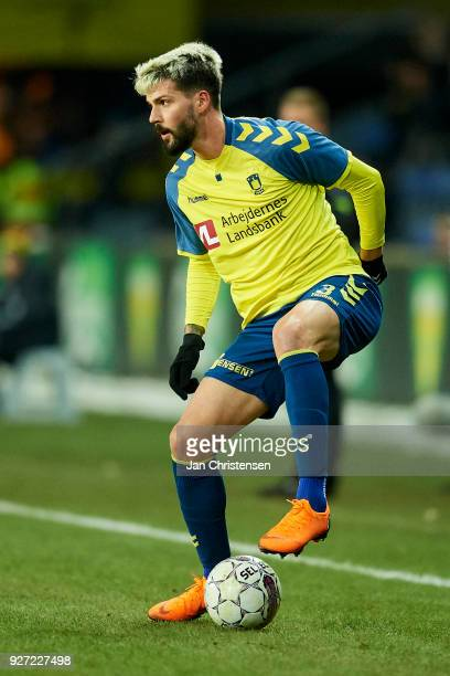 Anthony Jung of Brondby IF controls the ball during the Danish Alka Superliga match between Brondby IF and OB Odense at Brondby Stadion on March 04...