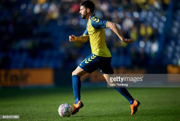 Anthony Jung of Brondby IF controls the ball during the Danish Alka Superliga match between Brondby IF and AC Horsens at Brondby Stadion on April 8...