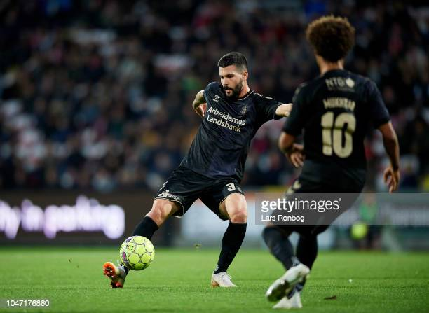 Anthony Jung of Brondby IF controls the ball during the Danish Superliga match between AaB Aalborg and Brondby IF at Aalborg Portland Park on October...