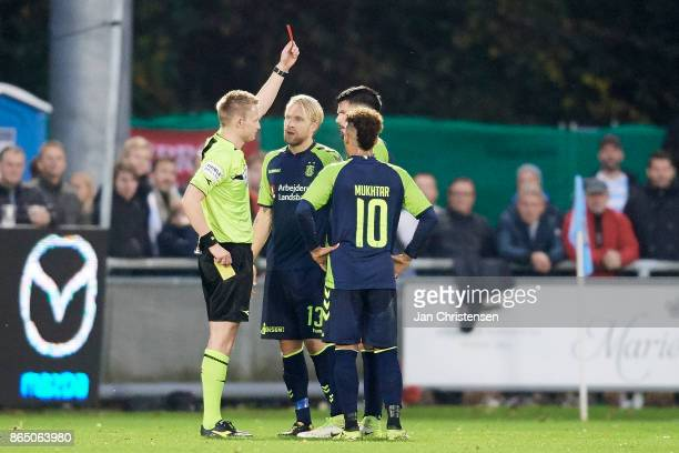 Anthony Jung of Brondby IF get a red card from referee Jorgen Daugbjerg Burchardt during the Danish Alka Superliga match between FC Helsingor and...