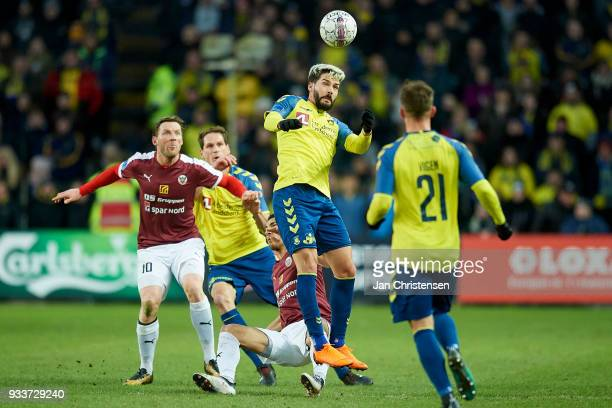 Anthony Jung of Brondby IF $heading the ball during the Danish Alka Superliga match between Brondby IF and Hobro IK at Brondby Stadion on March 18...