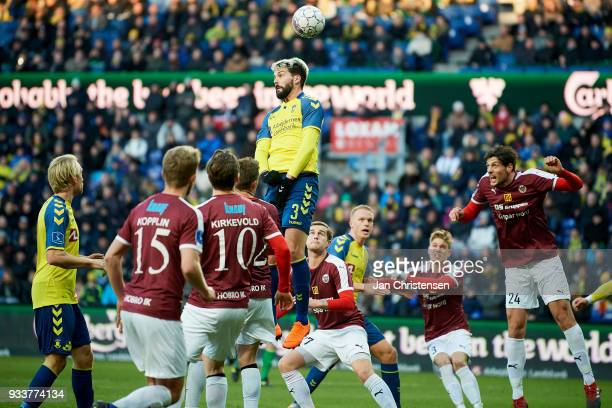 Anthony Jung of Brondby IF heading the ball during the Danish Alka Superliga match between Brondby IF and Hobro IK at Brondby Stadion on March 18...