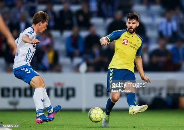 Anthony Jung of Brondby IF in action during the Danish Alka Superliga match between OB Odense and Brondby IF at EWII Park on September 10 2017 in...