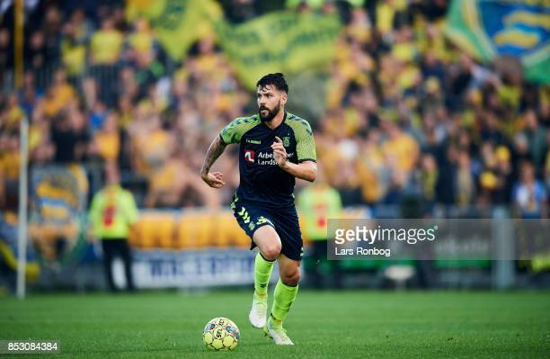 Anthony Jung of Brondby IF in action during the Danish Alka Superliga match between Hobro IK and Brondby IF at DS Arena on September 24 2017 in Hobro...