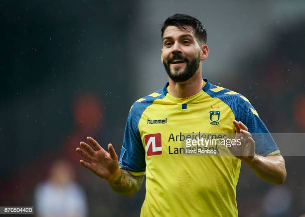 Anthony Jung of Brondby IF in action during the Danish Alka Superliga match between FC Copenhagen and Brondby IF at Telia Parken Stadium on November...