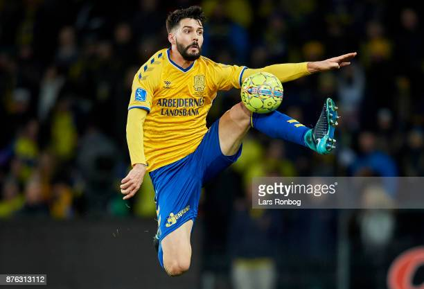 Anthony Jung of Brondby IF in action during the Danish Alka Superliga match between Brondby IF and FC Nordsjalland at Brondby Stadion on November 19...