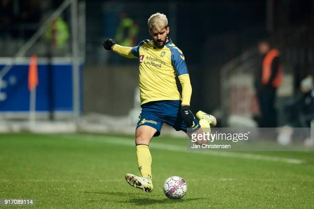 Anthony Jung of Brondby IF in action during the Danish Alka Superliga match between Lyngby BK and Brondby IF at Lyngby Stadion on February 11 2018 in...