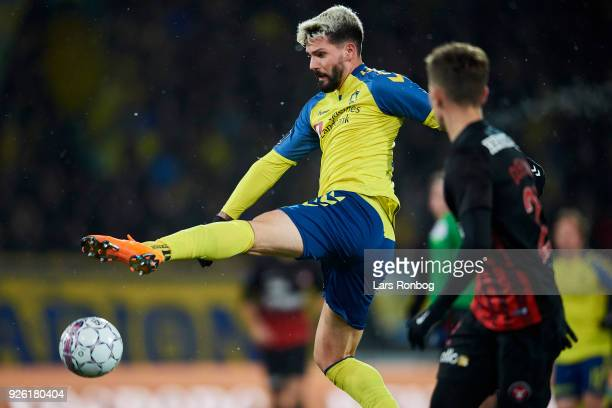 Anthony Jung of Brondby IF in action during the Danish Alka Superliga match between FC Midtjylland and Brondby IF at MCH Arena on March 1 2018 in...