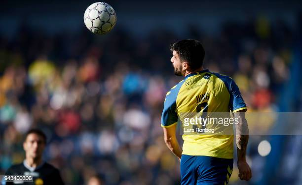 Anthony Jung of Brondby IF in action during the Danish Alka Superliga match between Brondby IF and AC Horsens at Brondby Stadion on April 8 2018 in...