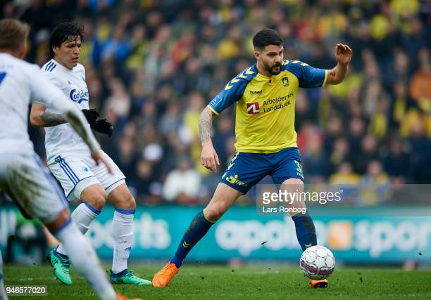 Anthony Jung of Brondby IF in action during the Danish Alka Superliga match between Brondby IF and FC Copenhagen at Brondby Stadion on April 15 2018...