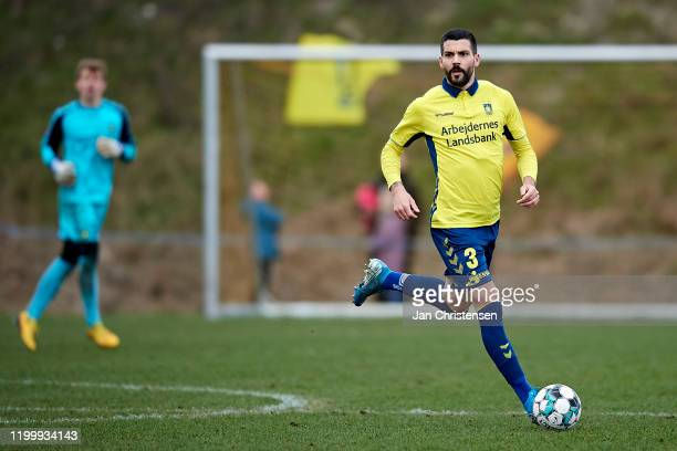Anthony Jung of Brondby IF in action during the testmatch between Brondby IF and SonderjyskE at Brondby Stadion on February 10, 2020 in Brondby,...