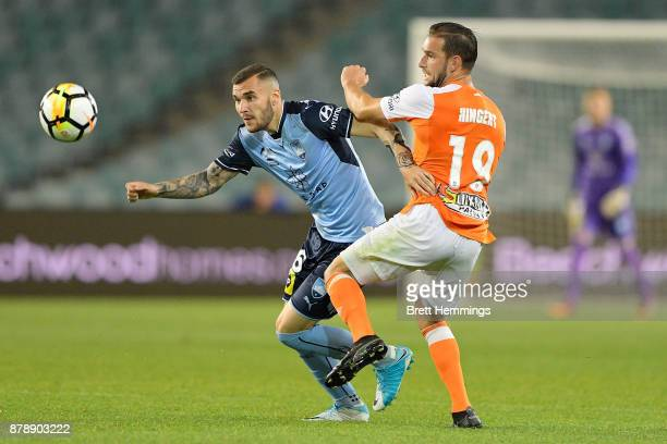 Anthony Kalik of Sydney and Jack Hingert of Brisbane contest the ball during the round eight ALeague match between Sydney FC and the Brisbane Roar at...