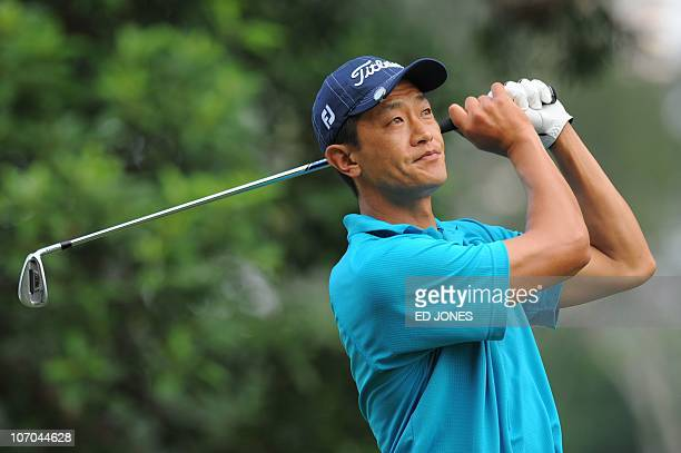 Anthony Kang of the US tees off during the final day of the UBS Hong Kong Open golf tournament at the Hong Kong Golf Club on November 21 2010 Ryder...