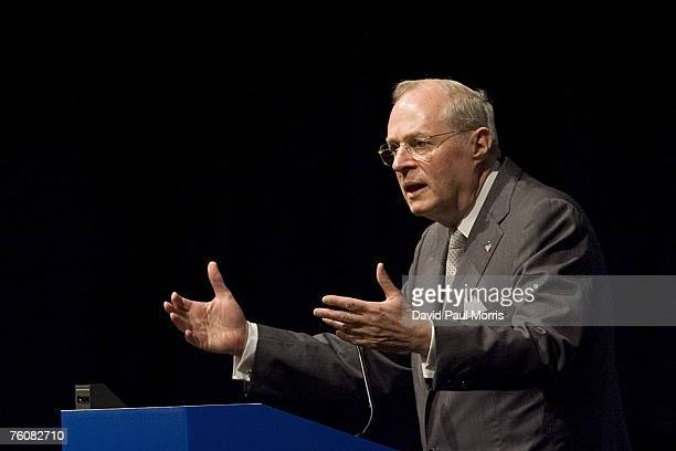Anthony Kennedy associate Justice of the United States Supreme Court speaks to members of the ABA at the Moscone Center August 13 2007 in San...