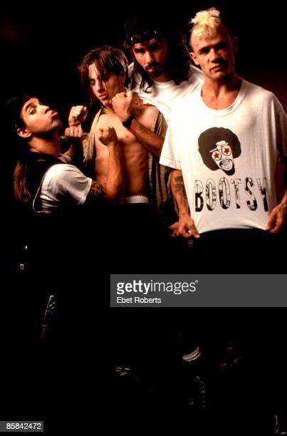 Photo of Anthony KIEDIS and Chad SMITH and John FRUSCIANTE and FLEA and RED HOT CHILI PEPPERS L to R Anthony Kiedis John Frusciante Chad Smith Flea...
