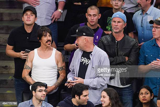 Anthony Kiedis and Chad Smith attend a basketball game between the Minnesota Timberwolves and the Los Angeles Lakers at Staples Center on October 28...