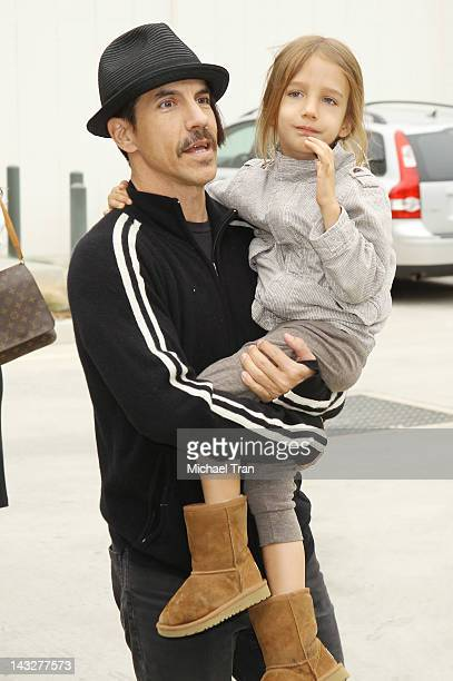 Anthony Kiedis and daughter arrive at Earth Day Celebration held at Annenberg Beach House on April 22 2012 in Santa Monica California