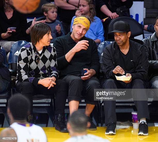 Anthony Kiedis and Denzel Washington attend a basketball game between the Houston Rockets and the Los Angeles Lakers at Staples Center on January 25...