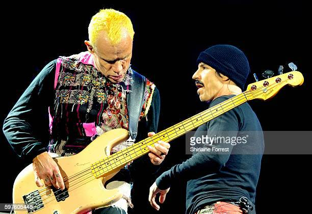 Anthony Kiedis and Flea of Red Hot Chili Peppers perform headlining Leeds Festival at Bramham Park on August 28 2016 in Leeds England