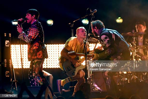 Anthony Kiedis and Flea of Red Hot Chili Peppers perform with Post Malone onstage during the 61st Annual GRAMMY Awards at Staples Center on February...