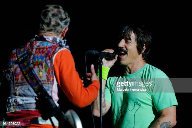Anthony Kiedis and Flea of Red Hot Chili Peppers performs during the second day of Lollapalooza Chile 2018 at Parque O'Higgins on March 17 2018 in...