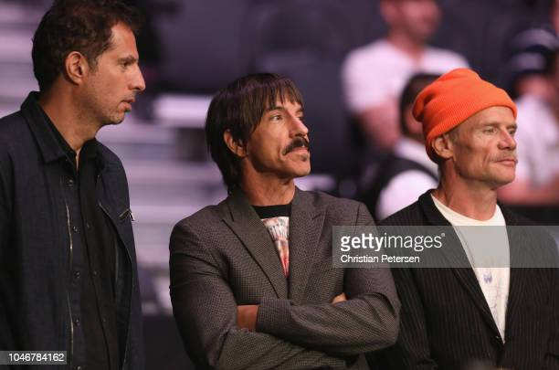 Anthony Kiedis and Flea of the Red Hot Chili Peppers attend the UFC 229 event inside TMobile Arena on October 6 2018 in Las Vegas Nevada