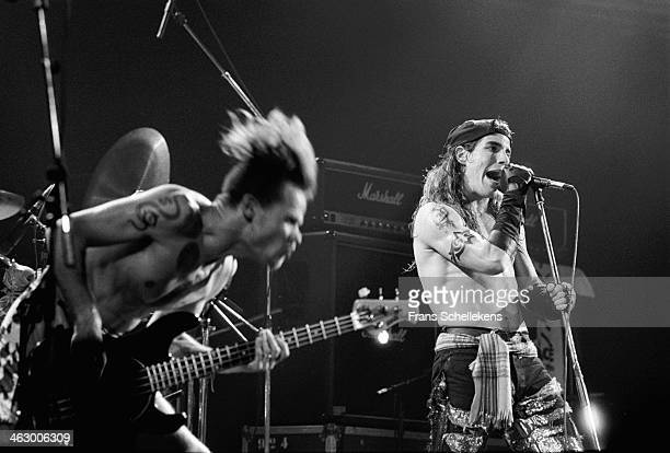 Anthony Kiedis and Flea perform with the Red Hot Chilli Peppers at the Paradiso in Amsterdam, the Netherlands on 17th February 1990.