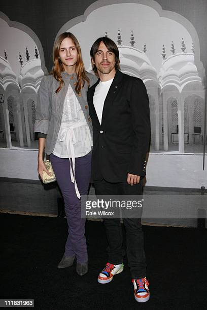 Anthony Kiedis and girlfriend Heather during Giorgio Armani Prive in LA Arrivals at Green Acres in Los Angeles California United States