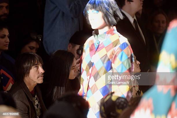 Anthony Kiedis and Guest attend the Jeremy Scott show during MADE Fashion Week Fall 2015 at Milk Studios on February 18 2015 in New York City