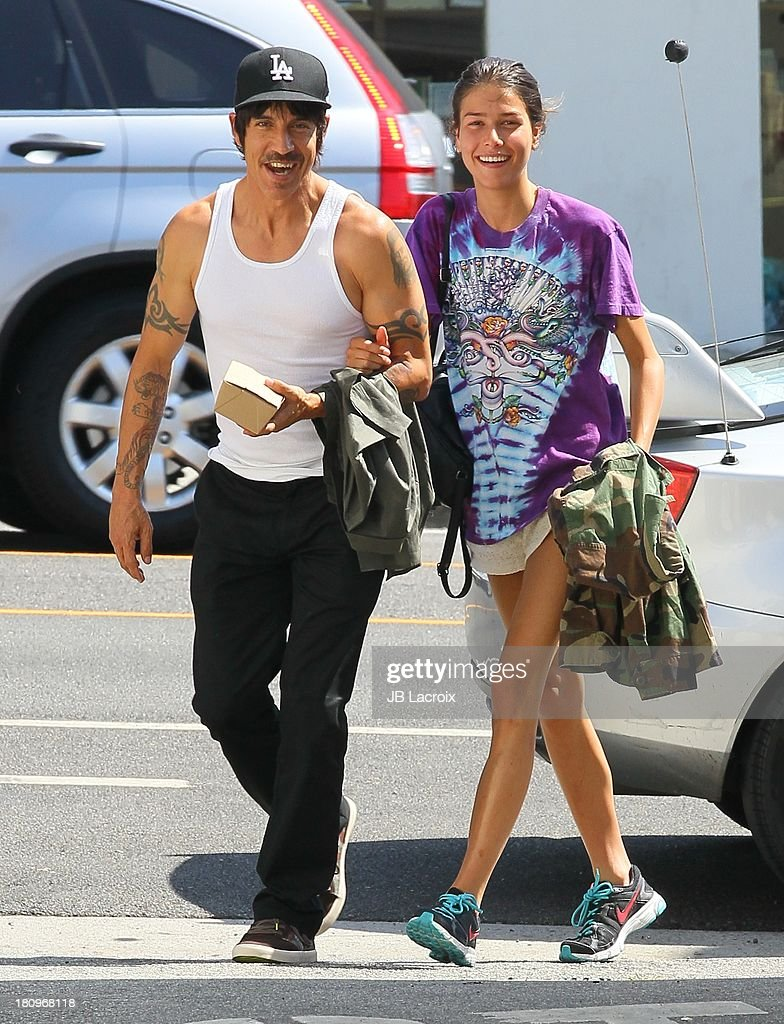 Anthony Kiedis and Helena Vestergaard are seen in Santa Monica on September 18, 2013 in Los Angeles, California.