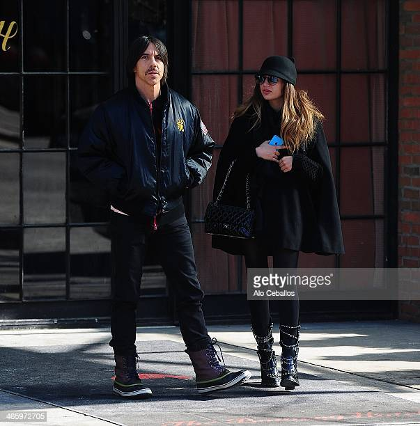 Anthony Kiedis and Helena Vestergaard are seen in the East Village on January 30 2014 in New York City