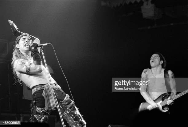 Anthony Kiedis and John Frusciante perform with the Red Hot Chilli Peppers at the Paradiso in Amsterdam the Netherlands on 17th February 1990