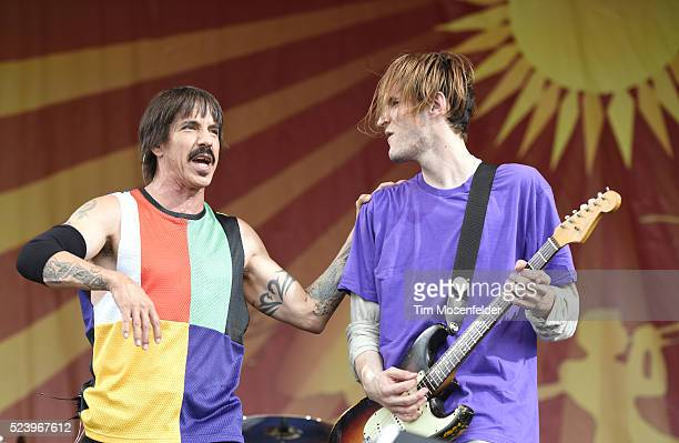 Anthony Kiedis and Josh Klinghoffer of Red Hot Chili Peppers perform during the 2016 New Orleans Jazz Heritage Festival at Fair Grounds Race Course...