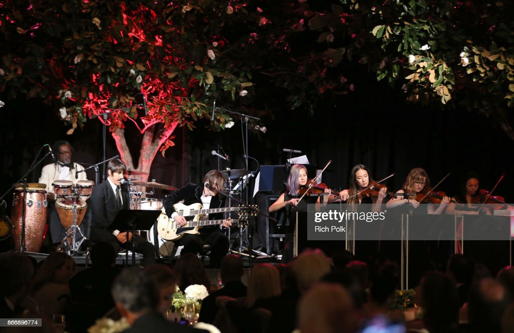 Anthony Kiedis (L) and Josh Klinghoffer of the Red Hot Chili Peppers performs onstage at the Whole Child International's Inaugural Gala in Los Angeles hosted by The Earl and Countess Spencer at Regent Beverly Wilshire Hotel on October 26, 2017 in Beverly Hills, California.