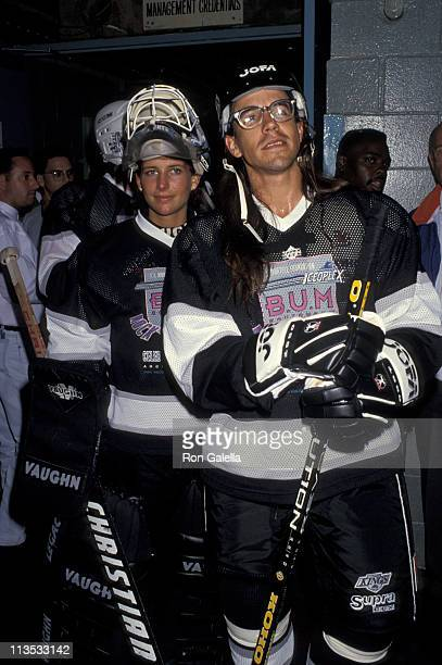 Anthony Kiedis and Manon Rheaume during 2nd Annual Rock' n The Puck Celebrity Hockey to Benefit TJ Martell at Great Western Forum in Los Angeles...