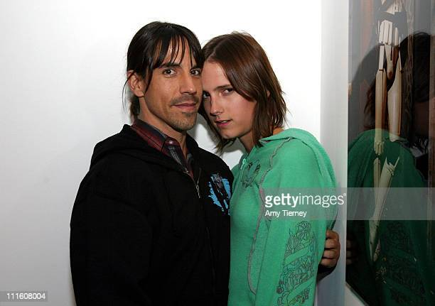 Anthony Kiedis and Nikka during Michael Muller's Photographs Featured at Opening of LoFi Gallery at LoFi Gallery in Los Angeles California United...